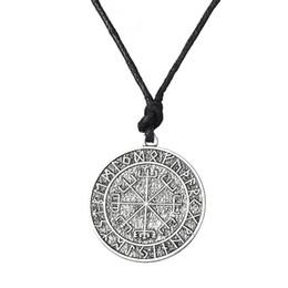Wholesale Wholesale Rope Cross - Warrior Scandinavian Amulet Collares Vegvisir Valknut Odin's Symbol of Norse Cross Runes Jewelry Ethnic Viking Men Necklace