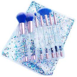 Wholesale Plastic Makeup Bags - Aquarium Liquid Glitter Makeup Brushes Set Pouch Blush Powder 7pcs Makeup Brushes With Bag blue and pink DHL free