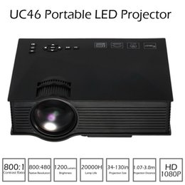 Wholesale Smartphone Hdmi - UC46 Mini LED LCD Projector Portable HD 1080P Projectors Supports DLNA Miracast Airplay Wifi Wireless from Smartphone TV Pad PC Media Player
