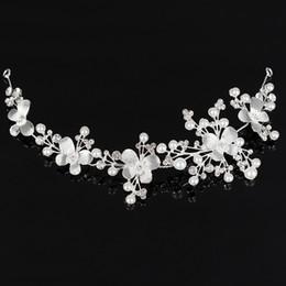 Wholesale Silver Chain Headpieces - Bridal Rhinestone Crystal Hair Vine Tiara Crown Wedding Hair Chain Headpiece Floral Headband Hair Ornaments for Women HOT Sale