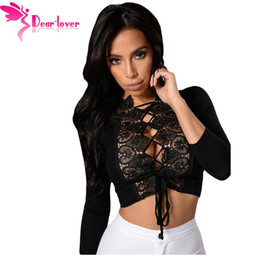 Wholesale Womens Crochet Short Sleeve Top - Dear Lover crop top long sleeve autumn 2017 Sexy Womens Shirt Black Crochet Lace Trim Lace Up Front Camis vetement femme LC25916