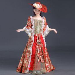 Wholesale Marie Antoinette Dresses - 2017 latest designs Children red printed lace Floor Length Reenactment Theater Dresses Marie Antoinette Renaissance Queen Dress