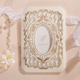 Wholesale Bridal Cards - Wholesale- Laser Cut Wedding Invitations Cards With Hollow Flora Design Luxurious Engagement for Bridal Shower Birthday Party Favors CW6035