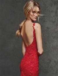 Wholesale Online Dress Pattern - Red Dresses Celebrity Evening Dresses Bateau Sexy Mermaid Dresses Long Red Carpet Celebrity Dresses Full Lace 2016 Online Cheap