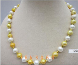 """Wholesale South Sea Pearls Singapore - charming 9-10mm south sea golden white pearl necklace 20"""" 14K yellow Gold clasp"""
