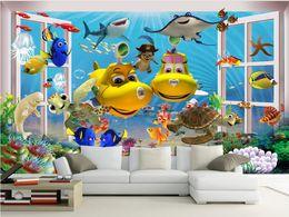 ozean wallpaper für wände Rabatt 3d wallpaper benutzerdefinierten Fototapete Cartoon Ozean U-Boot Fisch Dekoration Malerei 3d Wandbilder Tapete für Wände 3 d Wohnzimmer