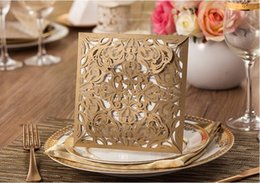 Wholesale Laser Paper Invitations - 25pcs lot Lace Invitations Cards European Classic Paper Laser Cut Wedding Invitations Cards, Customizable Invitation with Blank Inner Sheet