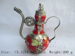 Wholesale Tibetan Teapots - Elaborate Chinese ancient Tibetan copper dragon monkey inlaid with ceramic teapot