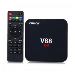 3d inteligente Desconto Android 6.0 caixa de tv v88 mais barato rk3229 quad-core 1gb 8gb caixa de tv inteligente wifi 3d hdmi tv set-top box media player barato oth036
