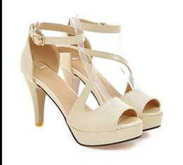 Aberto, salto alto, bege on-line-Sapatos Mulheres Verão Sapatos Sandálias Gladiador Mulheres Sandálias de Salto Alto Plataforma Toe Aberto Sapatos de Senhoras Bege Branco