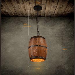 Wholesale E27 Led Yellow - Retre Pendant Lights Lamp Shade, Industrial Vintage Wood Barrel Retro Pendant Lamp Light for Bar Shop Cafe Dining Room Decor