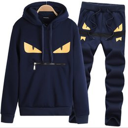 Wholesale Man Sweatsuit - Printed Hoody Men Tracksuit Little Monster Pattern Male Suit Hoodies Sweatshirt+Pant Homme Sweatsuit 3XL 2017 Two Pieces Sets Sportswear