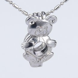 Wholesale bear packing - Silver plated bear shape cage pendant 13*7*19mm Pack of 5
