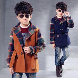 Wholesale Korean Children Boys Jacket - Korean Winter baby boy wool coat plaid thicken fashion children long sleeve long woollen jacket warmth teenager casual clothing
