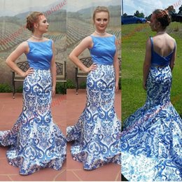 Wholesale Pictures Chinese Dresses - Blue and White Porcelain 2 Pieces Prom Dresses 2k17 prom2k17 Chinese Style Print Mermaid Pageant Dresses Beautiful Elegant Evening Dress