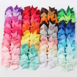 Wholesale Ribbon Clips - 40pcs 40 Colors Ribbon Bows Clips Hairpin Girl's hair bows Boutique Hair Clip Headware Kids Hair Accessories