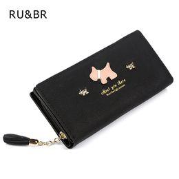 Wholesale leather dog wallet - Wholesale- Hot New Fashion Women Wallet Qute Dog Cartoon Tassels Scrub Ladies Wallet Splice Zipper Purse Clutch Cion Pocket Card Holder