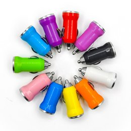 Wholesale colorful cell phones - 1000pcs Colorful 1A Bullet Mini USB Car Charger Universal Adapter for iphone 4 5 5S 6 6S 7 7plus Cell Phone PDA MP3 MP4