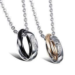 Wholesale Couples Half Heart Pendants Necklaces - Couple Half Heart Puzzle Pendant Necklaces Romantic AAA+ Cubic Zirconia Women Men Jewelry Free Link Chain GX966