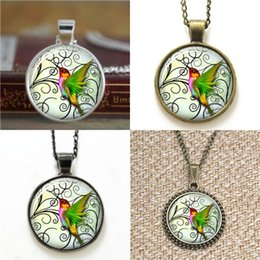 Wholesale Photos Wings - 10pcs Green Wings Humming Birds Glass Photo Necklace keyring bookmark cufflink earring bracelet