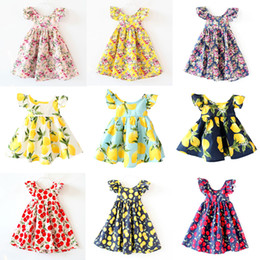 Wholesale Girls Vintage Style Dress - Cherry lemon Cotton backless girls floral beach dress cute baby summer backless halter dress kids vintage flower dress free shipping
