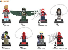 Wholesale Spider Man Mask Wholesale - X0168 Super Hero Iron Man Vulture Game Spiderman Ends of the earth Silk Masked Robber Spider-Man Blocks Baby Toys