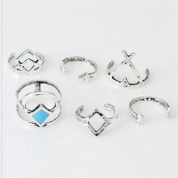 Wholesale Rhombus Ring - 6pcs Bohemia Style Rhombus Ring Arrow Turquoise Rings Open Adjustable Female Rings Metal Combined Rings For Women D10S