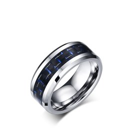 Wholesale Tungsten Rings Carbon Fiber Inlay - SHARDON 8mm Tungsten carbide wedding rings with black and blue carbon fiber inlay have in stock