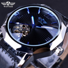 Wholesale Transparent Dial Watches - Winner Blue Hands Design Transparent Skeleton Small Fashion Dial Display Mens Watches Top Brand Luxury Automatic Fashion Watches