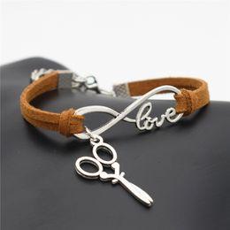 Wholesale Unique Wrist Jewelry - Wholesale-2016 Stylish Christmas Gift Unique Barber Scissors Pendant Love Infinity Charm Leather Bracelet for Women Scissors Wrist Jewelry