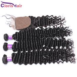 Wholesale Silk Top Hair Closure Curly - Silk Base Closure With Bundles Deep Curly Wave Brazilian Hair Bundles With Top Lace Closures Piece Tissages Human Hair Weaves 4pcs