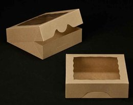 Wholesale Wholesale Boxes For Cookies - New Kraft Cookies Boxes with Window Cake Pie Boxes Favor Boxes For Party Guest 48pcs