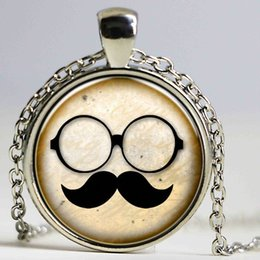 Wholesale Wholesale Mustache Jewelry - Fashionable Time Stone Pendant Mustache Glasses Cute Secret Doctor Necklace Steampunk Jewelry Choker Necklace