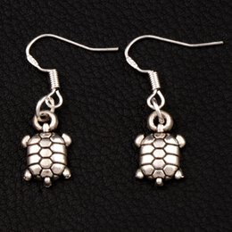 Wholesale 925 Silver Turtle - Tortoise Turtle Earrings 925 Silver Fish Ear Hook 30pairs lot Antique Silver Chandelier E1179 32.4x9.4mm