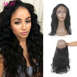 Wholesale Braziian Hair - ALOT Braziian Virgin Hair 360 Lace Frontal Body Wave Brazilian Indian Peruvian Malaysian Virgin Human Hair Natural Color 360 Lace Frontal