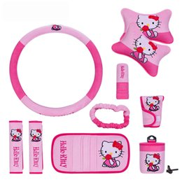 Wholesale Cartoon Car Set Covers - 10pcs unit Auto Accessories Hello kitty Pink Cartoon Car interior Steering wheel cover Bone pillow car-cover Universal Automotive Upholstery
