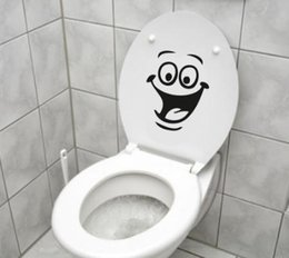 Wholesale Sticker Funny Faces - Innovation Smiley Face WC Toilet Decal Wall Mural Art Decor Funny Bathroom Sticker Vinyl