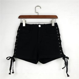Wholesale Jeans Strap Shorts - High Waist Women's Shorts Slim Thin Straps Jeans Summer Sexy Fashion Shorts High Quality Free Shipping Girls' Shorts