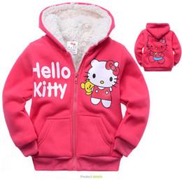 Wholesale Baby One Piece Hoodie - Wholesale- 2015 Hello Kitty Children Outerwear Coats Cartoon Thick Cashmere Kids Jackets Warm Winter Hoodies Baby Girls Coat One Piece