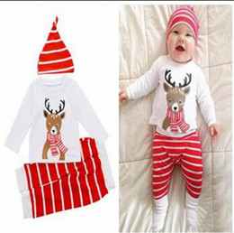 Wholesale Tshirt Pants Tops - 3 Piece Christmas Outfits Newborn Baby Boys Girls Christmas Clothes Elk Printed Tshirt Tops Striped Pants Hat Outfits Xmas Clothing 997