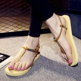 Wholesale Lightweight Women Slippers - Wholesale-New 2016 Fashion Outdoor Women Summer Style Shoes Beach Hot Lightweight Sandal Slippers Non-slip Classic Roman Sandals O697