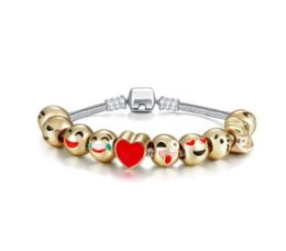 Wholesale Bead Loose Fill - 17-21cm Loose Beads Bracelet & 10pcs Gold Plated Christmas Smile Face Charm Beads fit European Charms Bracelets Christmas Emoji Bracelet