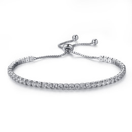 Wholesale Brass Box Chain - Elegant Platinum Plated Bezel Set Cubic Zirconia Tennis Adjustable Bracelet