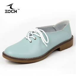 Wholesale Plus Size Leather Woman - ZOCN 2016 Plus Size Genuine Leather Shoes Woman Flats Casual Shoes Oxfords Women Lace Up Moccasins Ballet Flats Zapatos Mujer