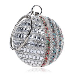 Wholesale Silver Wristlet Purse - Women Evening bags Round Deisng With Handle Chain Shoulder Handbags Diamonds Small Day Clutches Evening Bags Rhinestones Purse
