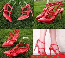 Wholesale Orange Dress Shoes For Women - High QualityAll Black Rivets pumps For Woman 8cm Heel High-heeled shoes 35-42