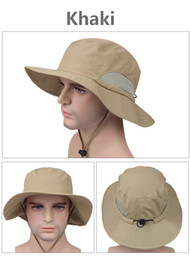 Wholesale Girls Bucket Hats - 2017 New Unisex Wide Brim Boonie cap Sunblock Foldable Fishing Hiking Hunting Outdoor Bucket Hats Sun Protective Fisherman Hats