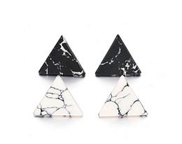 Wholesale Black Stone Jewlery - Classic Simple Triangle Geometric Faux Marbled White Black Stone Stud Earrings 2cm For Women Jewlery gift E522
