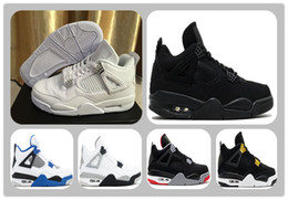 Wholesale Mens Pure White Shoes - cheap IV 4 White Cat Pure MONEY Royalty Suede Black Gold Motorsport Mens Basketball shoes 4s Sports Shoes WHITE METALLIC SILVER woman Shoes