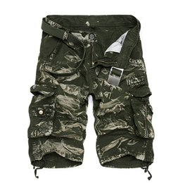 Wholesale Bermuda Cargo Camo - Wholesale- Summer Stylish Cargo Shorts Men Casual Loose Cotton Camo Calf-length Multi-Pocket Bermuda Masculina Short Pants